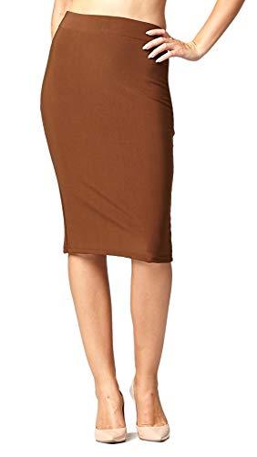 Premium Stretch Pencil Skirt for Women with Slit - Pull On Elastic Waistband - Bodycon Midi Skirts - Classic Mocha - 2XL