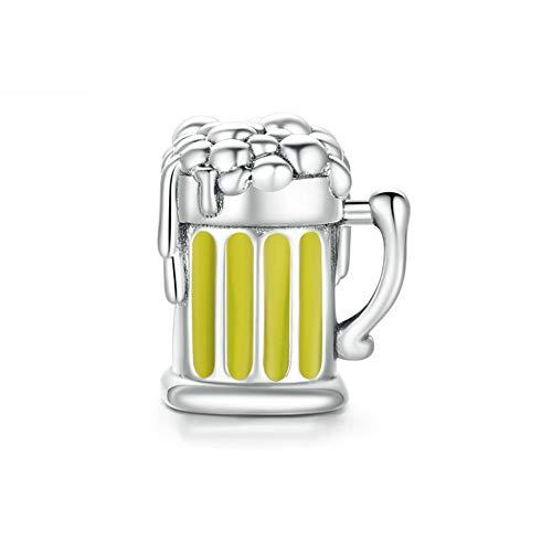 HMMJ Charms S925 Sterling Silver Fai da Te Bead Mug Birra Compatibile con Pandora e Braccialetti Europei Collane