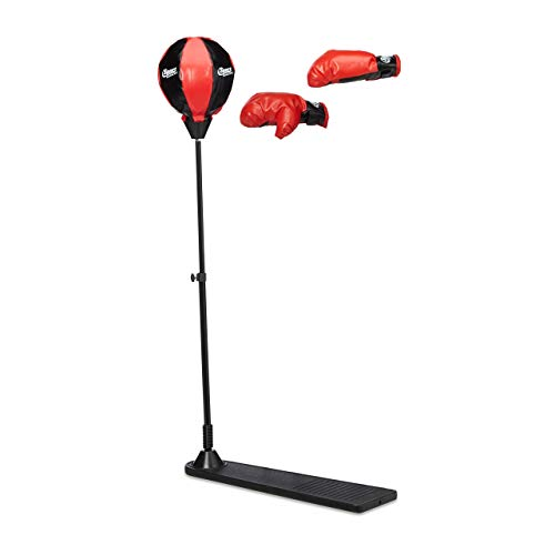 Relaxdays Punchingball Kinder, mit Standfuß, Pumpe, Boxhandschuhe, höhenverstellbar, HBT: 102 x 15 x 52 cm, schwarz-rot
