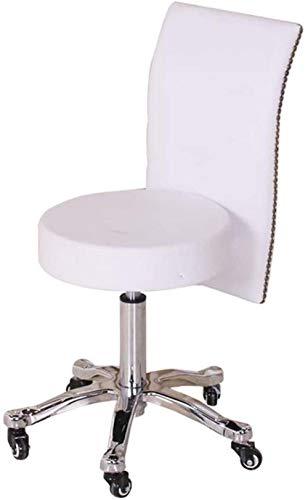 DWXN Drehhocker Hã¶Henverstellbar mit Rollen,Barhocker Sitzhöhe mit Weiß Kunstleder Bezogener Sitz,höhenverstellbar 45-58 cm,bis 160kg,Küchen Hocker mit Lehne für Barhocker, Salon, Zuhause