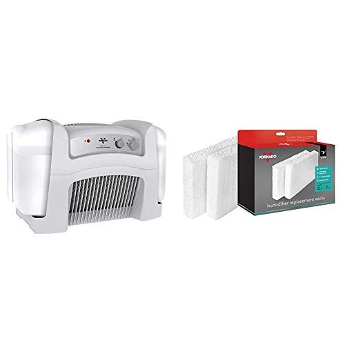 Vornado Evap40 4-Gallon Evaporative Humidifier with Adjustable Humidistat and 3 Speeds & MD1-0002 Replacement Humidifier Wick (2-Pack),White