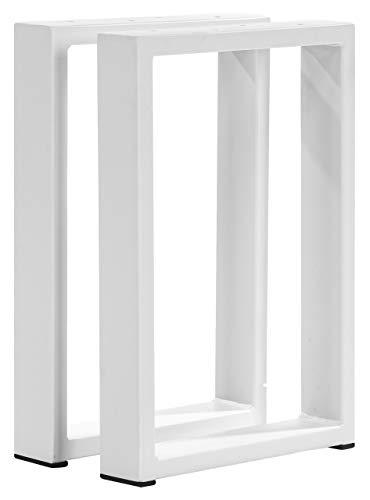 POKAR Pata de Mesa de Acero, Marcos Cuadrados Estilo Industrial DIY para Café, Mesas de la Sala de Star, Patas Metálicas de la Encimera para Muebles blanco, 60x72 cm, Conjunto de 2