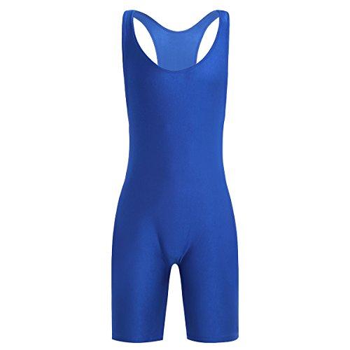 CHICTRY Herren Body Overall Stretch Lycra Unterhemd Boxershorts Unterwäsche Bodysuit T-Shirt Tops Gymnastikanzug M-XL Blau Large