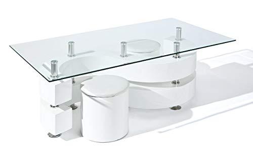 Inter Link 50100005 Couchtisch Glastisch Wohnzimmertisch Wohnzimmer Tisch Glas 2 Hocker weiß NEU