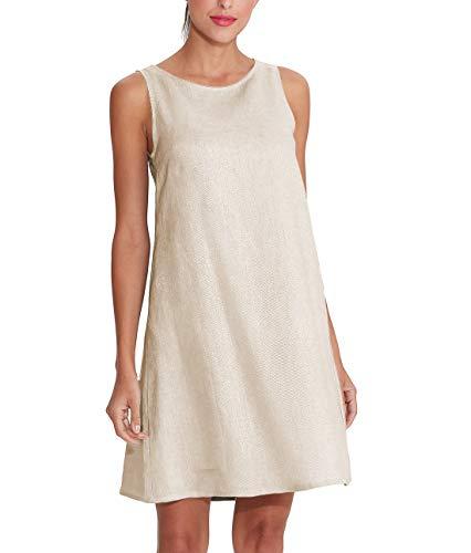 Amazhiyu Women's 100% Linen Sleeveless Shift Dress with Pockets Crew Neck Casual Tank Dress (124# Linen, 2X-Large)