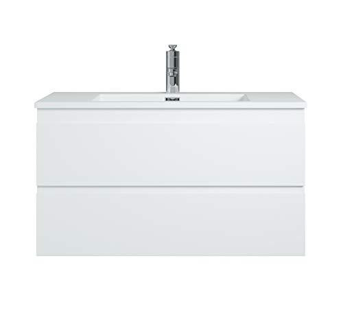 Badezimmer Badmöbel Set Angela 90 cm - Mattweißes Waschbecken - Matt Weiß - Unterschrank Schrank Waschtisch