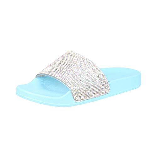 Elara Damen Sandaletten Glitzer Sandale Chunkyrayan S20 Blue-39