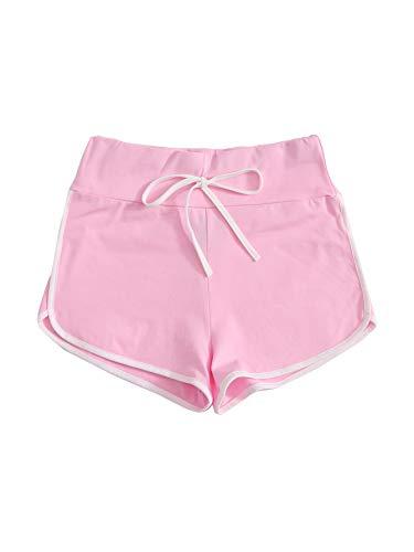 DIDK Pantalones cortos para mujer, pantalones de pijama, pantalones de yoga, pantalones de deporte, correr, gimnasio, pantalones de chándal elásticos informales. Rosa. L