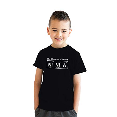 Youth Ninja Element of Stealth T Shirt Funny Cool Graphic for Kids Nerdy Tee (Black) - XL