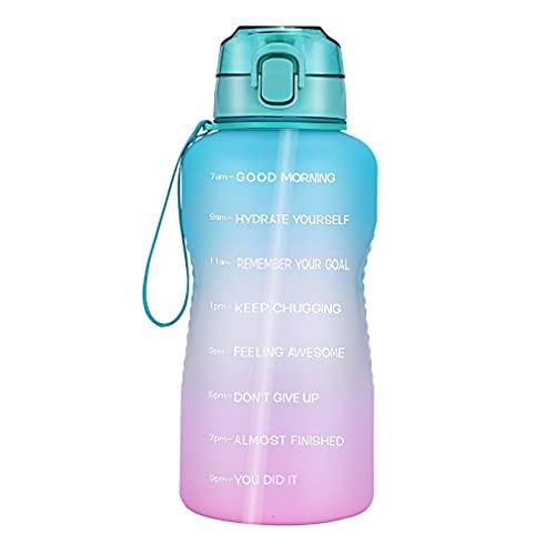Botella de agua con pajita, para bicicleta, cuello ancho, botella de motivación, botella de agua con marcador de tiempo, para deportes, bicicleta, botella de yoga, sin BPA (degradado rosa)