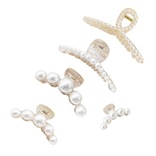 Pearl Hairpin, Thick Clips, Jaw Clips Hair Clips Hair Accessories 5 Pieces, Bridal Jewelry Hairpins, Pearl / Rhinestone Hair Clip for Women