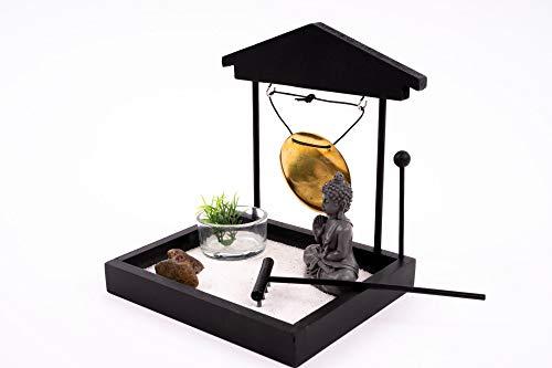 EMAKO Entspannungsset Zen Garten mit Buddha Figur und Gong Teelichthalter schwarz