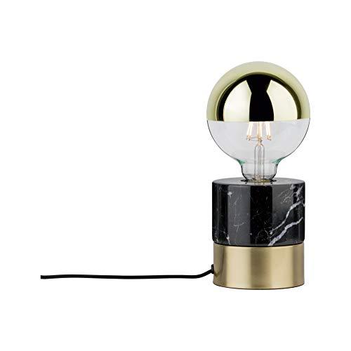 Paulmann 79742 Neordic Vala Tischleuchte max. 1x20W Tischlampe für E27 Lampen Nachttischlampe Messing gebürstet/Schwarz 230V Marmor ohne Leuchtmittel
