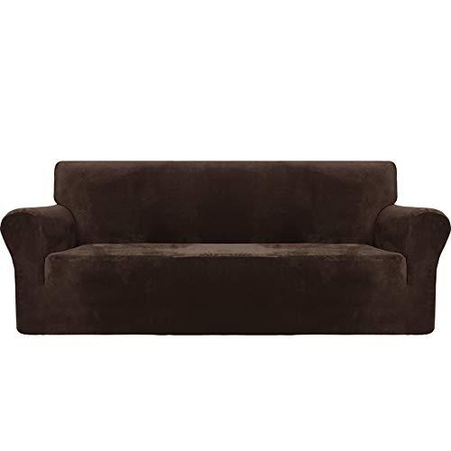 MAXIJIN Thick Velvet Sofabezüge 3-Sitzer Super Stretch rutschfeste Couchbezug für Hunde Katze Haustierfreundlich 1-teilige elastische Möbel Protector Plüsch Sofa Schonbezüge (3 Sitzer, Dunkler Kaffee)