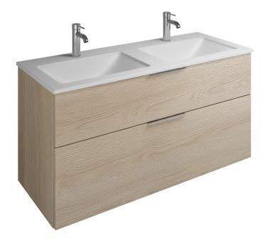 Burgbad Eqio Mineralguss-Doppelwaschtisch inklusive Waschtischunterschrank SEYV122, Breite 1220 mm, Farbe (Front/Korpus): Eiche Dekor Cashmere/Eiche Dekor Cashmere, Griff G0146 - SEYV122F3180G0146