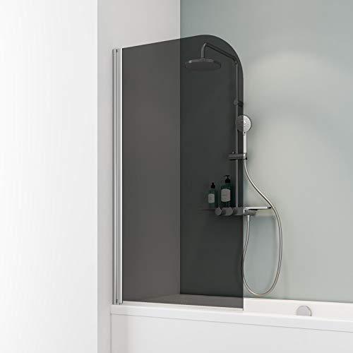 Schulte D1650 Duschwand Komfort, 80 x 140 cm, 5 mm Sicherheitsglas grau anthrazit, chromoptik, Duschabtrennung für Badewanne