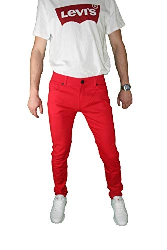 Mens Skinny Jeans Slim Stretch FIT Slim FIT Trouser Pants Fashion Casual (Red, 36X30)