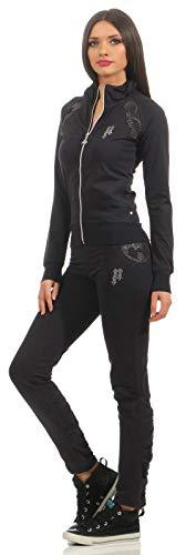 Pari Line dames pak 2-delig joggingpak feel-gingpak kleur donkerblauw of zwart trainingspak huispak comfortabel met strass-steentjes strass-steen en glamour
