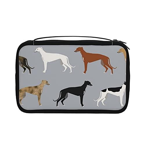 Transparente Kulturtasche für Damen, Reisetasche, Kosmetiktasche mit Haken zum Aufhängen für Toilettenartikel, Zubehör (Windhunde, niedlicher Hund-Rettungshund)