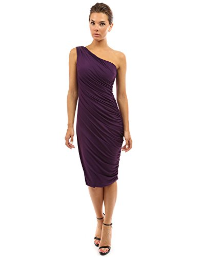 PattyBoutik Women One Shoulder Cocktail Dress (Dark Purple X-Small)