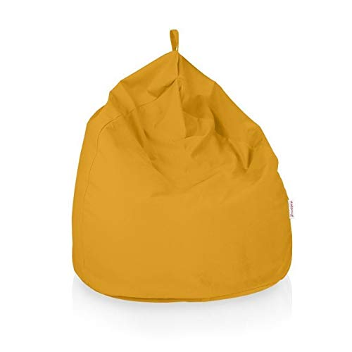 Italpouf Pouf Sacco Gigante XXL Poltrona Sacco Morbido Tessuto Velluto 100 Ø x 130 cm Pouf A Sacco Sfoderabile! Puff Imbottito! Puf Tessuto Peluche 14 Colori! (Pouf Sacco XXL, Giallo)