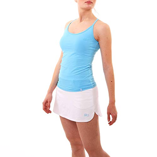 Sportkind Mädchen & Damen Tennis, Fitness Workout, Yoga Tanktop, integriertes Bustier, atmungsaktiv, UV-Schutz, hellblau, Gr. 134