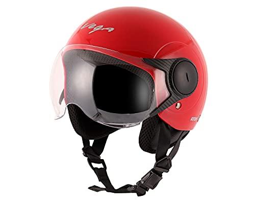 Vega Open Face Atom Red Helmet-M