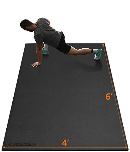 Large Exercise Mat 6'x4'x7mm Workout Mat for Home Gym Mats Exercise Equipment Gym Flooring Rubber...