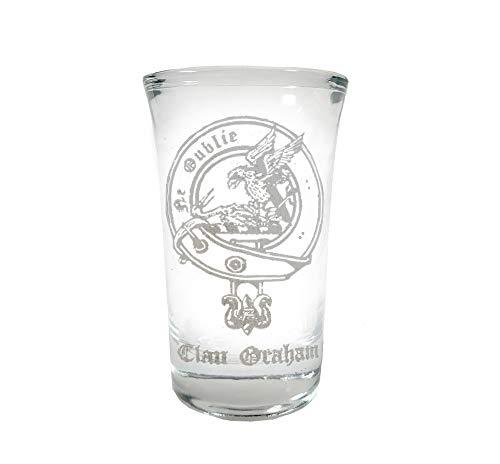 Graham Scottish Family Clan Crest Shot Glass 2oz - Free Personalized Engraving, Celtic Decor, Scottish Glass