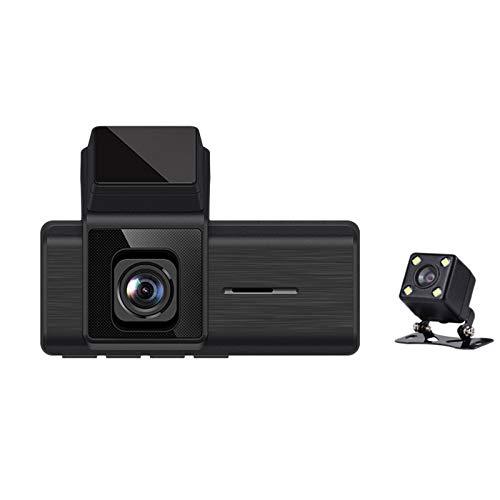 Nrpfell Coche de 3 Pulgadas DVR 1080P HD CáMara de Salpicadero de Doble Lente VisióN Nocturna G-Sensor CáMara de Estacionamiento 170 ° Grabador de ConduccióN de Gran Angular