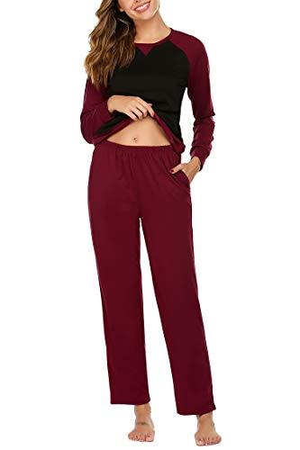 Balancora Schlafanzug Damen Lang Warm Zweiteiler Nachtwäsche Herbst Winter Hausanzug Baumwolle Pyjama Set