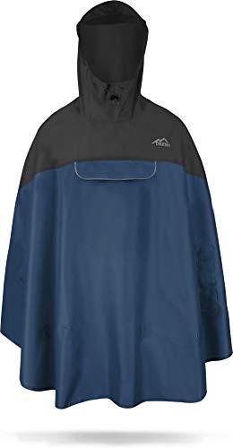 normani Premium Wasserdichter Regenponcho Poncho mit Kapuze und seitlichen Einschubtaschen - KleinesPackmaß - Fahrradponcho Regenmantel Unisex (S-3XL) Farbe Schwarz/Navy Größe S/M