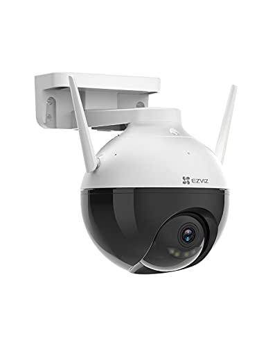 EZVIZ WiFi Cámara Bala de Vigilancia Exterior 1080p PTZ, IP Pan&Tilt Cámara de Seguridad con Visión Nocturna Colorida, IA Integrada con Defensa Activa Luz Estroboscópica, Compatible con Alexa, C8C