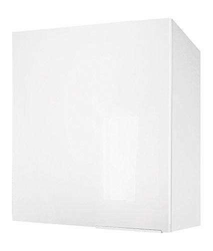 Berlenus Küchenschrank, mit 1Tür, Hochglanz-Weiß, 60 x 70 x 33,3 cm