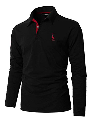 STTLZMC Casual Polo Uomo Manica Lunga Tennis T-Shirt Gentiluomo Ricamo Tops S-XXL,Nero,Medium