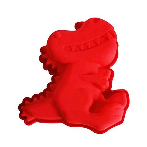 Dinosaurier-3D-Silikon-Backform – Dino Schwamm Kochen Formen Schokolade Fondant Einhörner Formform Backwerkzeug – Antihaftbeschichtung – leicht zu reinigen – spülmaschinenfest – 17 x 15 x 3,2 cm