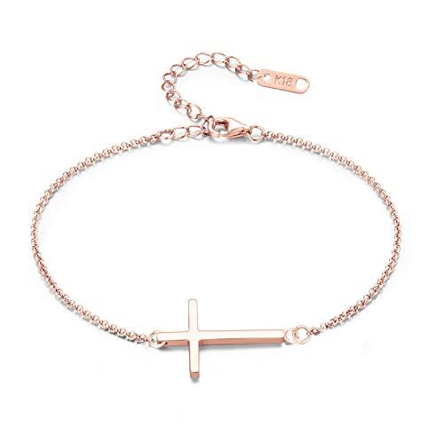 MOMOL Sideways Cross Bracelet, Rose Gold Plated Stainless Steel Religious Cross Bracelet Christian Faith Bracelet Classic Cross Charm Bracelet for Women Girls