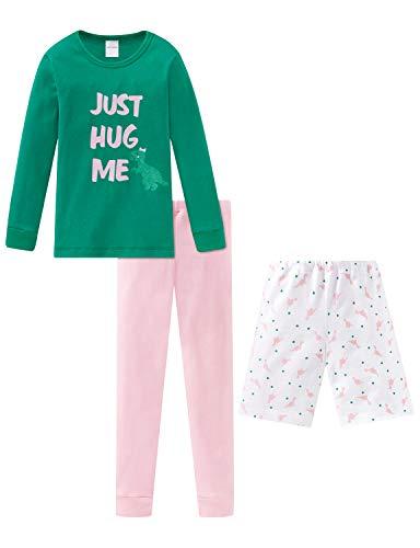 Schiesser Mädchen Md Anzug 3-teilig Zweiteiliger Schlafanzug, Grün (Grün 700), (Herstellergröße: 104)