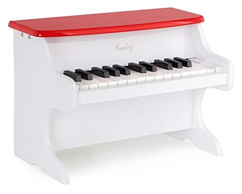 Funkey MP-25 Mini Spielzeug Piano - Metallophon in Klavier Optik - 25 Tasten ideal für kleine Kinderhände - Kinderklavier für Kunder ab 3 Jahren - Weiß