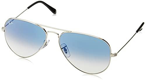 Ray-Ban RB3025 Aviator Occhiali da Sole Unisex Adulto, Colore Argento, Lenti Blu sfumato chiaro, 55 mm