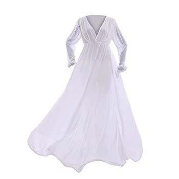 COUCOU Age Medieval Dress Chemise Long Victorian Nightgown Chiffon V-Neck Long Sleeves White