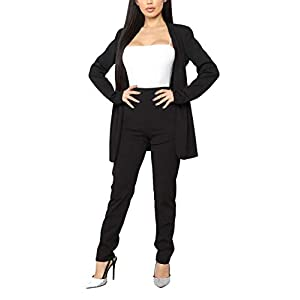 Aro Lora Women's 2 Piece Outfit Casual Solid Open Front Blazer and Pencil Pant Suits Set