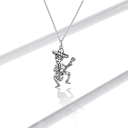 Personalizada del Hombre del cráneo con el Collar Pendiente de la Guitarra, Delicada joyería de la Cadena de Hall