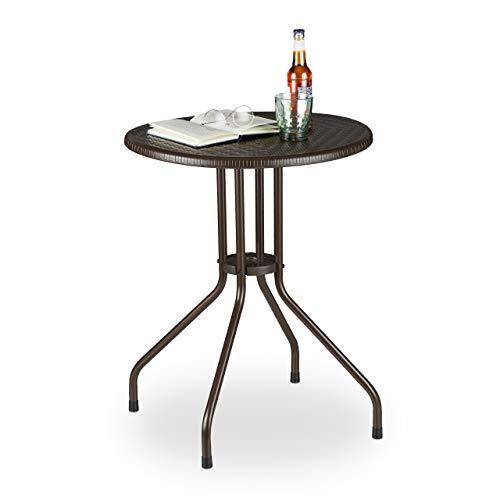 Relaxdays Tavolo Rotondo da Esterno, Aspetto Rattan, Tavolino Balcone Piccolo, Plastica e Metallo, HD: 74x60 cm, Marrone