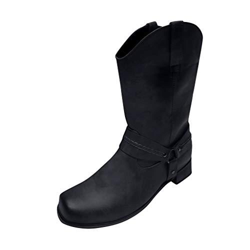 Mens Cowboy laarzen lederen waterdichte Slip-On laarzen Retro anti-slip ronde teen gesp lage hak schoenen mannen outdoor klassieke laarzen