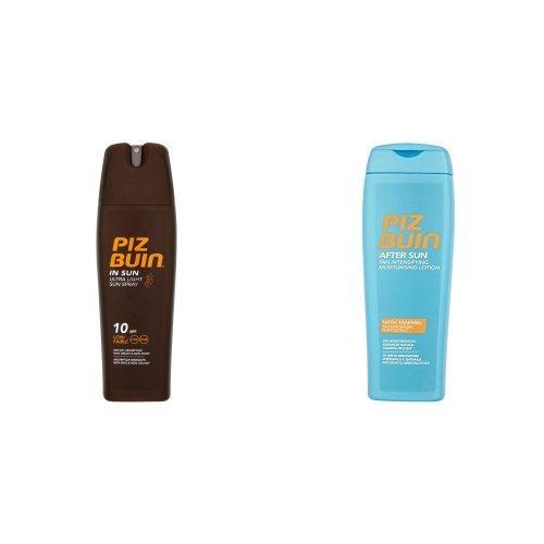Piz Buin In Sun Tan Lotion Ultra Light Spray SPF 10 200ML & Piz Buin After Sun Tan Intensifier After Sun Lotion 200ml Duo Set