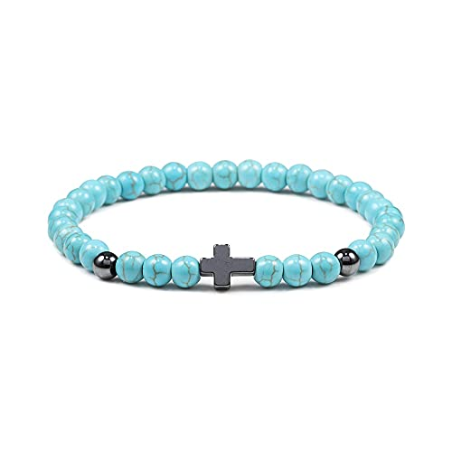 JINKEBIN Pulsera de oración para hombre y mujer, hematita, cruz de 6 mm, piedra natural de ojo de tigre, perlas, pulsera de Jesús, yoga, homme, regalo (metal color: azul)