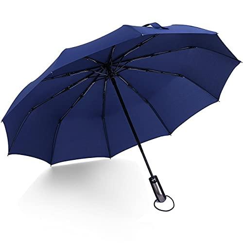 Funmoon - Paraguas plegable automático antiviento, protección de lluvia, lujo, para mujeres y hombres, gran cortavientos, revestimiento negro, 10 ballenas, sombrilla