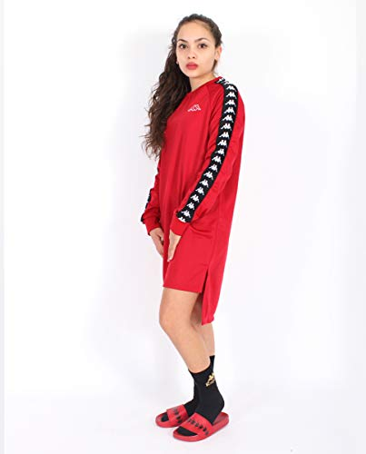 Kappa Authentic Alkha Heritage 222 Banda Vestido de Manga Corta, Mujer, Rojo (Red Dark/Black), L