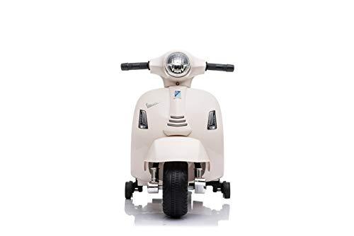 Babycar Moto Elettrica per Bambini Piaggio Mini Vespa ( Bianco) 6 Volt con luci e Suoni Ufficiale con Licenza